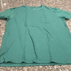 Jcrew Mens Solid Green Slim Washed Pocket Tshirt